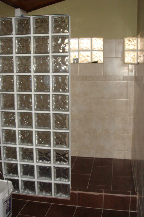 Glass block the bent page - Bathroom glass block wall ...