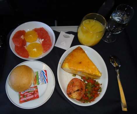American Airlines breakfast from Aruba to Miami.