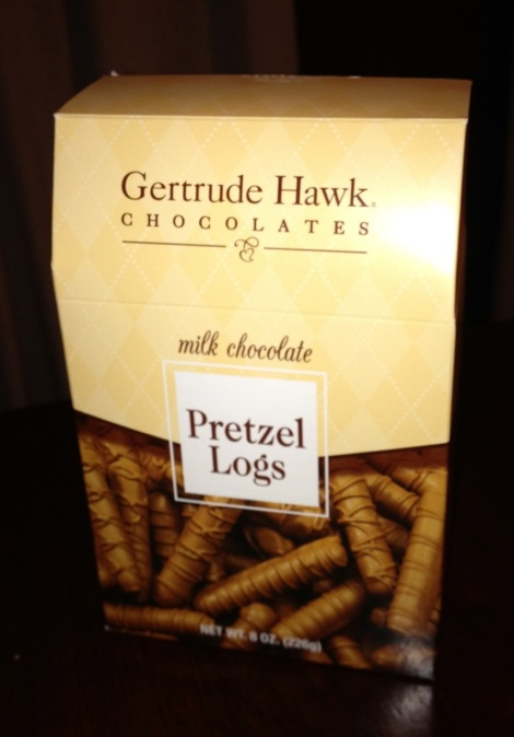 A box of chocolate covered pretzels from Gertrude Hawk.