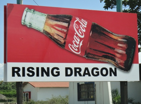 Coca-Cola sign at the Rising Dragon Chinese Bar in Aruba.