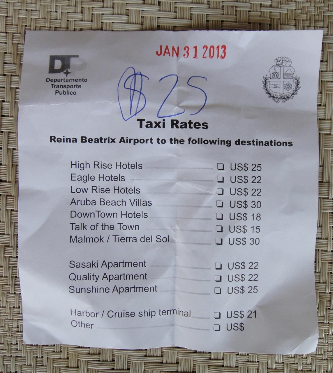 taxi slip