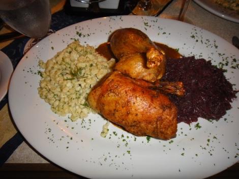 Roast Duck at Amadeus, Aruba.