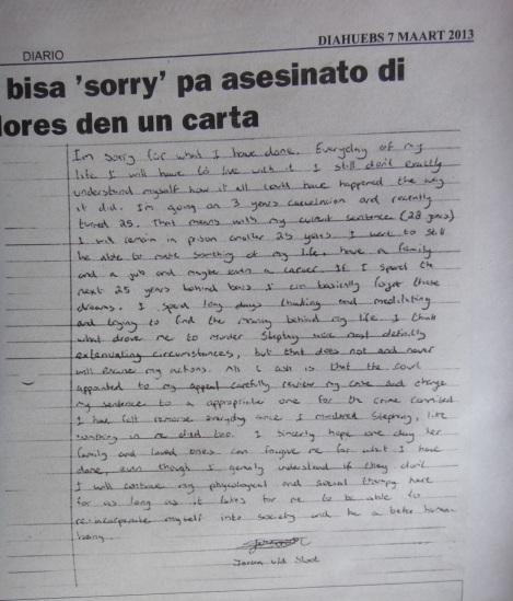 Letter written by Joran Van Der Sloot.