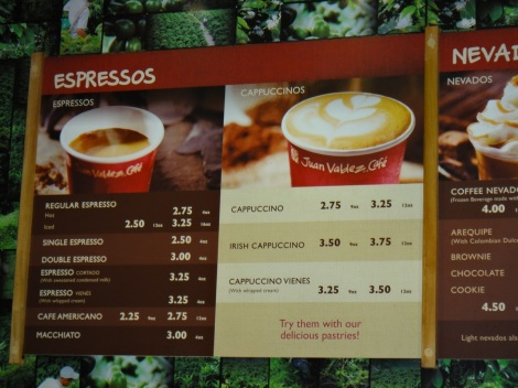 Menu board at Juan Valdez Coffee, Aruba.