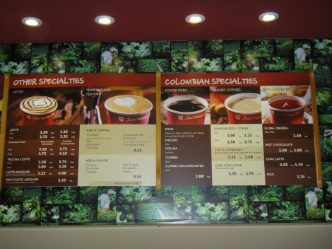 Another menu board at Juan Valdez Coffee, Aruba.