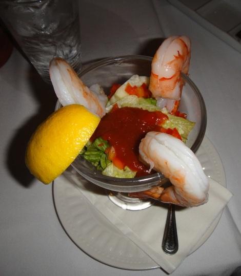 Shrimp cocktail at Scabeche, Aruba.