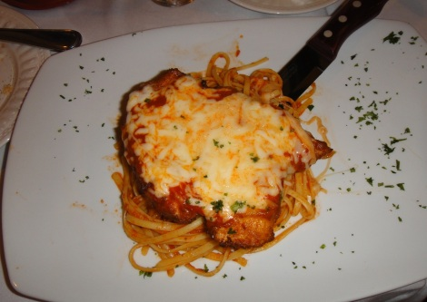 Chicken Parmesan at Scabeche, Aruba.