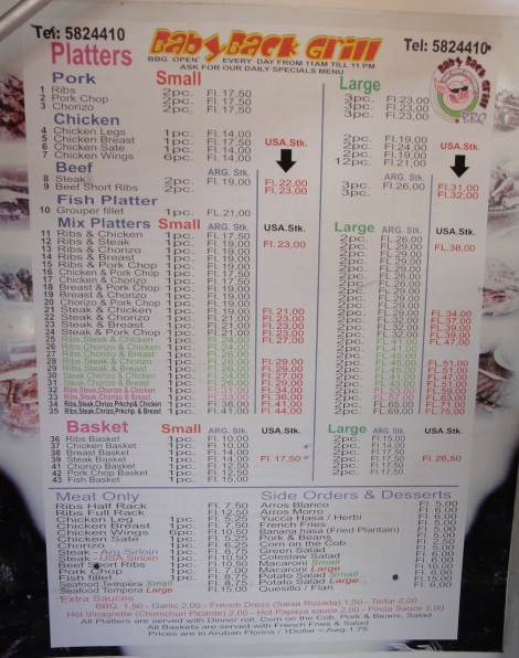 Menu at Baby Back Grill