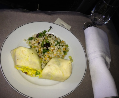 Chicken wrap with couscous from American Airlines.