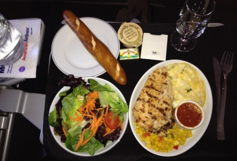 Lunch on American Airlines flight from MIA to AUA.