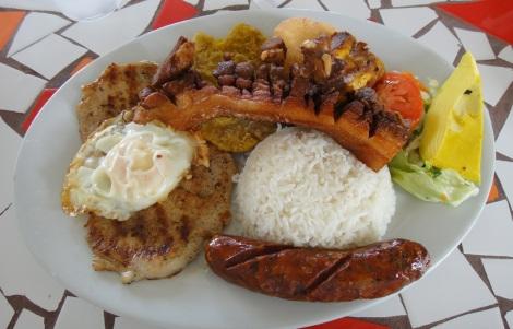 Bandeja Paisa platter at Casa Vieja, Aruba, December 2013.