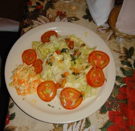 Mixed salad at Rincón Criollo restaurant, Aruba.