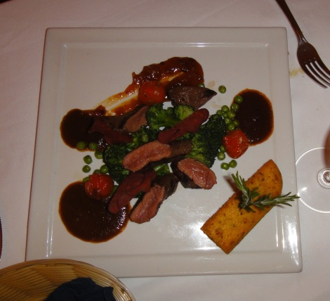 Grilled Kangaroo with apricot chutney at Screaming Eagle, Aruba.