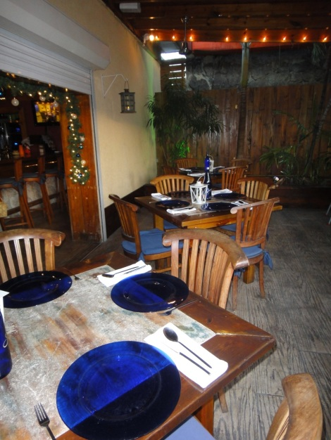Seating at Yemanja restaurant, Aruba.
