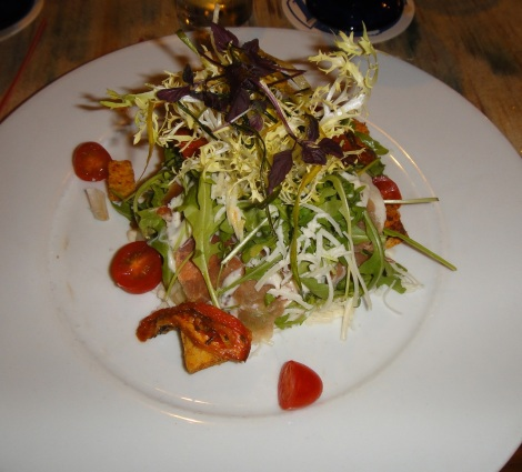 Salad with prosciutto at Yemanja, Aruba, DWI.