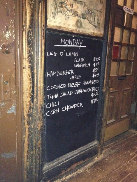 Menu at McSorely's Old Ale House.