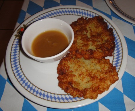 Potato pancakes at Bavaria Restaurant, Aruba. (apple dipping sauce on the side)
