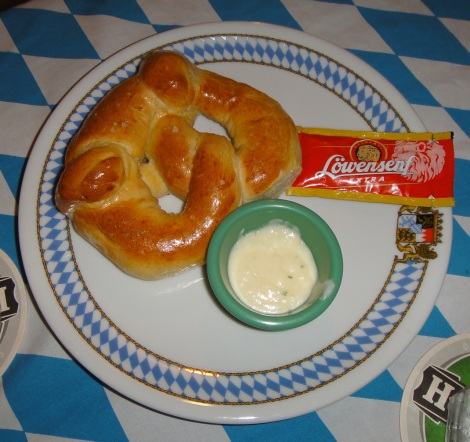 Pretzel with mustard at Bavaria Restaurant, Aruba.