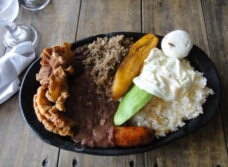 Bandeja paisa platter at Don Jacinto, Aruba.