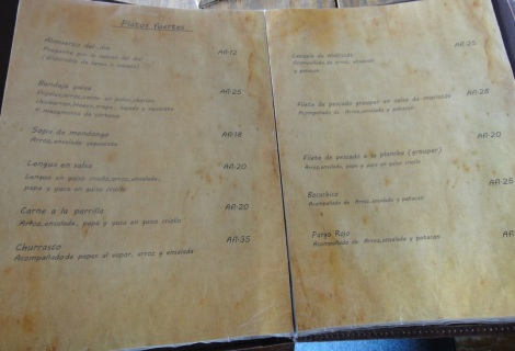 Menu at Don Jacinto, Aruba.