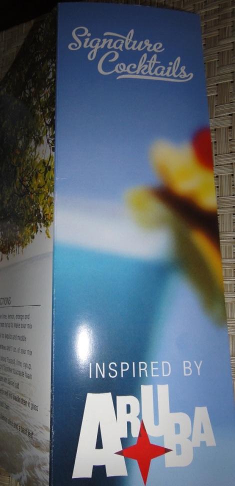 Signature Drinks, Aruba, brochure cover.