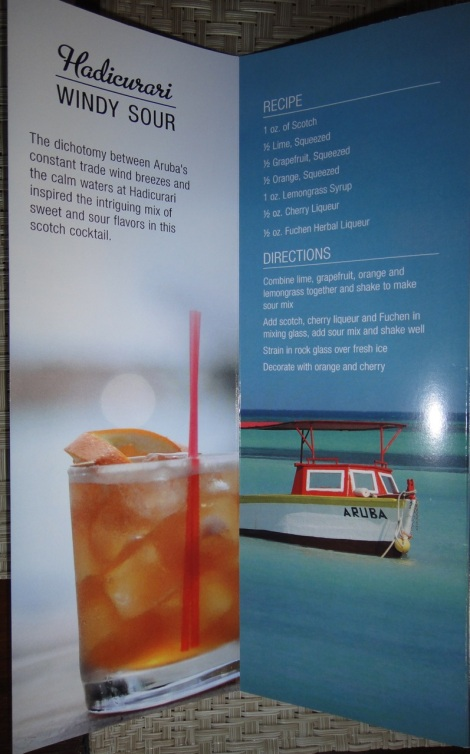 "Aruba Signature Drink, ""Windy Sour."""