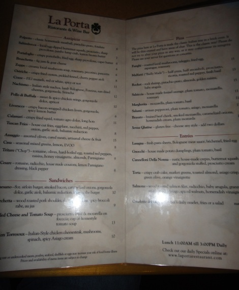 Current menu (spring 2014) at La Porta, Media, PA.