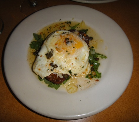 """Portafoglio""… a crispy portobello mushroom with fried egge, sharp provolone, and caper butter."