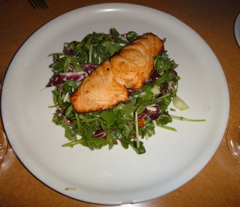Salmon over arugula and radicchio at La Porta.
