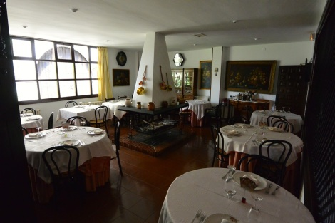 Dining room at Hotel Museo Los Infantes, Santillana del Mar, Spain.