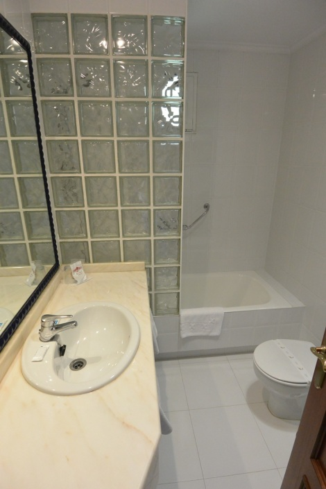 Bathroom in junior suite at Hotel Museo Los Infantes, Santillana del Mar, Spain.