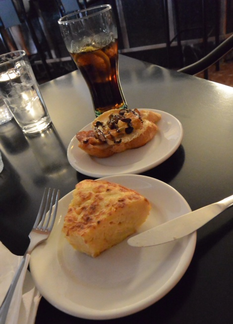 Tortilla española and more at a local joint in Belchite, Spain.