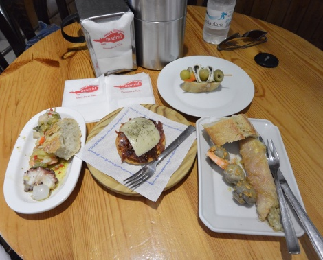 Various tapas at bar/restaurant Madrid in Haro, Spain.