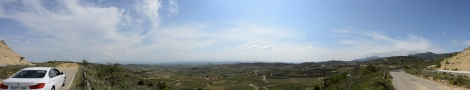 Another panorama looking over a valley in La Rioja, Spain.