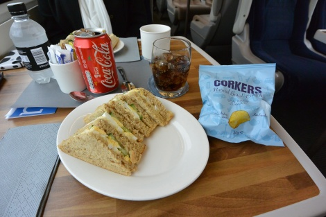 Egg salad sandwich aboard East Coast Line train to Edinburgh, Scotland.