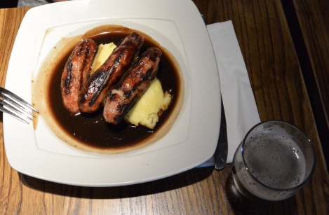 Sausage and mash at Deacon Brodie's Tavern, Edinburgh, Scotland.