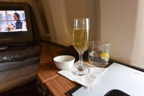 Champagne aboard American Airlines Flight 56.