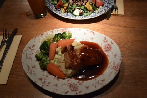 Slow roasted pork belly with whole grain mustard mash at The Duchess of Cambridge, Windsor, England.