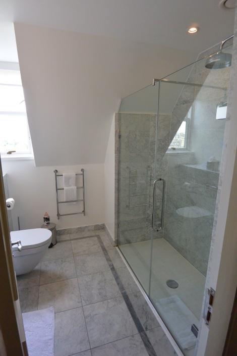 Bathroom of a standard room in The Caledonian Hotel, Edinburgh, Scotland.