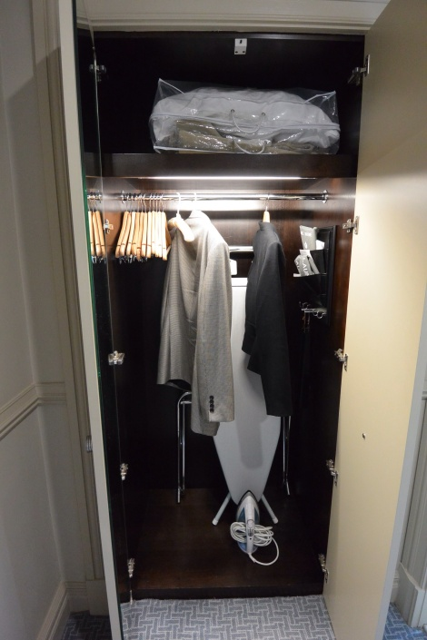 Closet in standard room at The Caledonian Hotel, Edinburgh, Scotland.