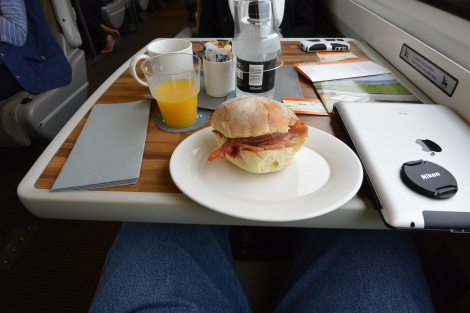 Bacon sandwich served in first class carriage, East Coast Line train.