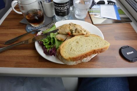 Chicken lunch in first class aboard East Coast Line train.