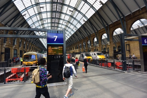 A platform in King's Cross Station, London, England.