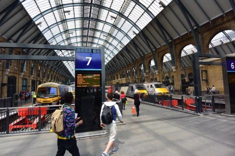 A platform in King's Cross Station, London, England.