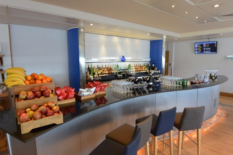 Bar at British Airways Lounge, Gatwick Airport.