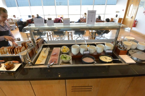 Breakfast foods at the British Airways Lounge, Gatwick Airport.