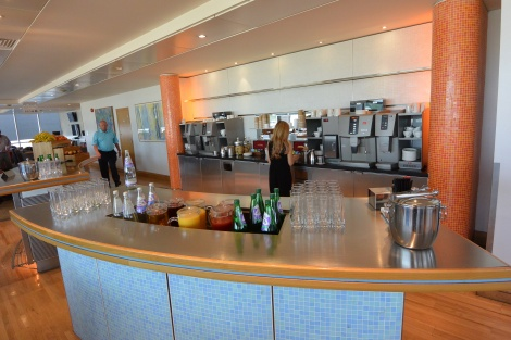 Coffee and tea makers in the British Airways Lounge, Gatwick Airport.