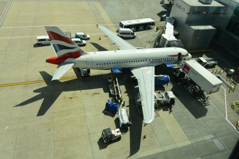 British Airways Airbus 319 at Gatwick Gate 101.