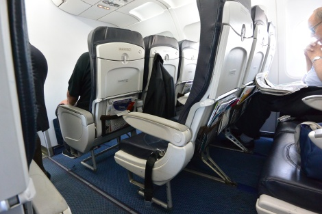 Business class seat spacing aboard British Airways Flight 2708.