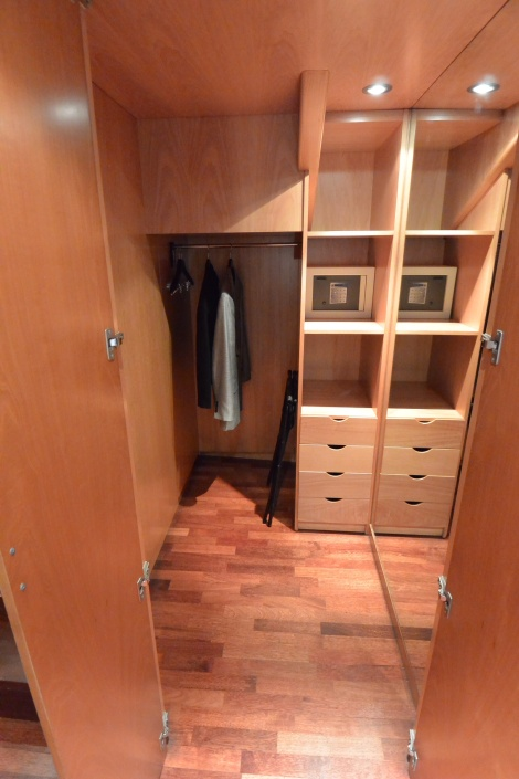 Closet in duplex style room at Hotel Pau Claris, Barcelona, Spain.
